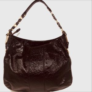 Tory Burch crinkled patent leather T hobo